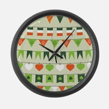 st patricks day flag Large Wall Clock
