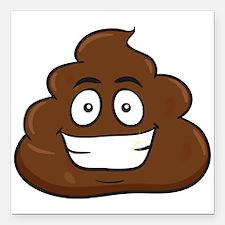 "emoji poop Square Car Magnet 3"" x 3"""