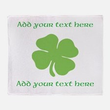 St. Patricks Day personalisable shamrock Throw Bla