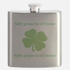 St. Patricks Day personalisable shamrock Flask
