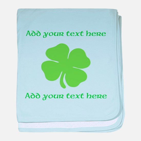 St. Patricks Day personalisable shamrock baby blan