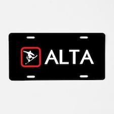Snowboarding: Alta, Utah Aluminum License Plate