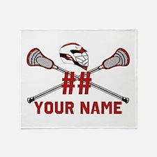 Lacrosse Sticks Crossed With Helmet Throw Blanket