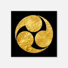 Kobayakawa Mon Japanese clan gold on black Sticker