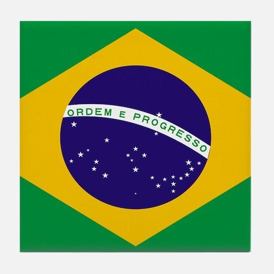 Brasil Flag Tile Coaster