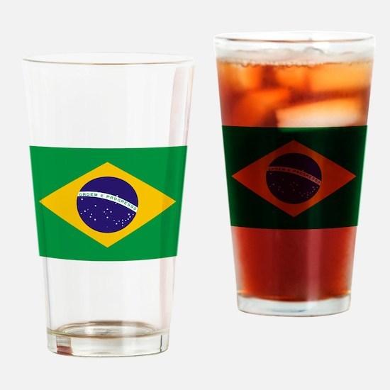 Brasil Flag Drinking Glass
