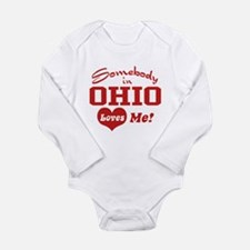 Cute Someone in ohio loves me Long Sleeve Infant Bodysuit