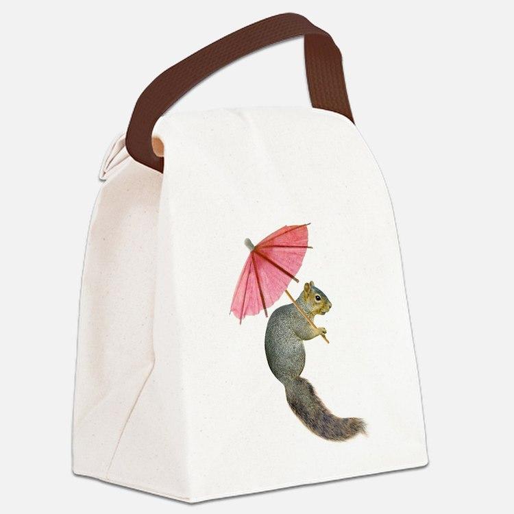 Squirrel Pink Parasol Canvas Lunch Bag