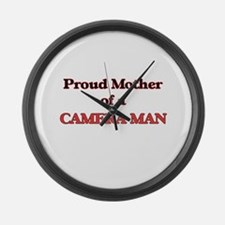 Proud Mother of a Camera Man Large Wall Clock