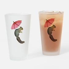 Squirrel Pink Parasol Drinking Glass