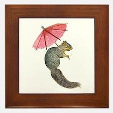 Squirrel Pink Parasol Framed Tile
