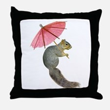 Squirrel Pink Parasol Throw Pillow