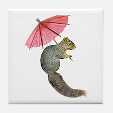 Squirrel Pink Parasol Tile Coaster