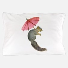 Squirrel Pink Parasol Pillow Case