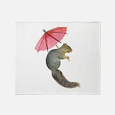 Squirrel Pink Parasol Throw Blanket