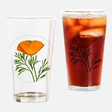 Golden Poppy Drinking Glass
