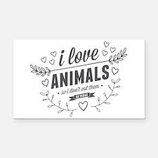 I Love Animals Rectangle Car Magnet