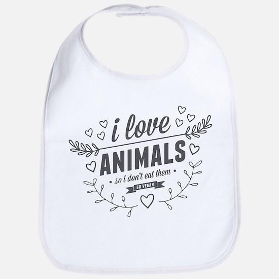 I Love Animals Bib