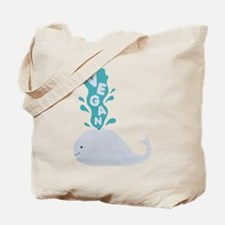 Blue Vegan Whale Tote Bag