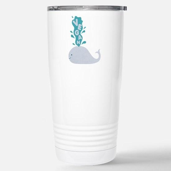 Blue Vegan Whale Travel Mug