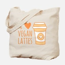 Orange I Heart Vegan Lattes Tote Bag