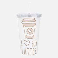 Tan I Heart Soy Lattes Acrylic Double-wall Tumbler