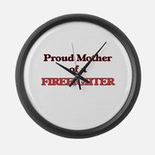 Proud Mother of a Firefighter Large Wall Clock