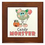 Halloween Candy Monster Framed Tile