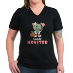 Halloween Candy Monster V-Neck Black T-Shirt