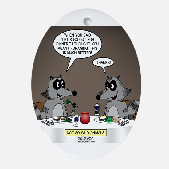 Raccoon Dining Oval Ornament