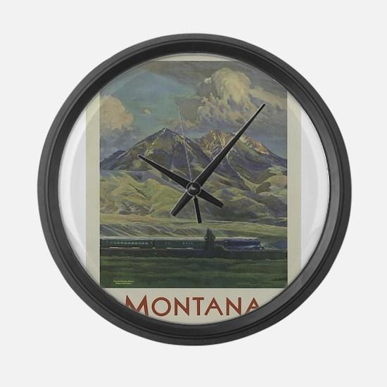 Vintage poster - Montana Large Wall Clock