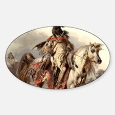 Cute American indian horse Sticker (Oval)