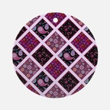 CRAZY QUILT Round Ornament