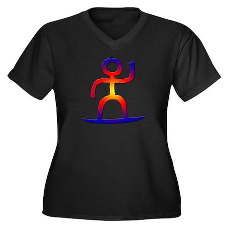 Sunset Surfer Women's Plus Size V-Neck Dark T-Shir