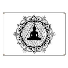 Buddha Meditating Sacred Geometry Mandala Banner