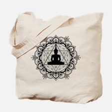 Buddha Meditating Sacred Geometry Mandala Tote Bag