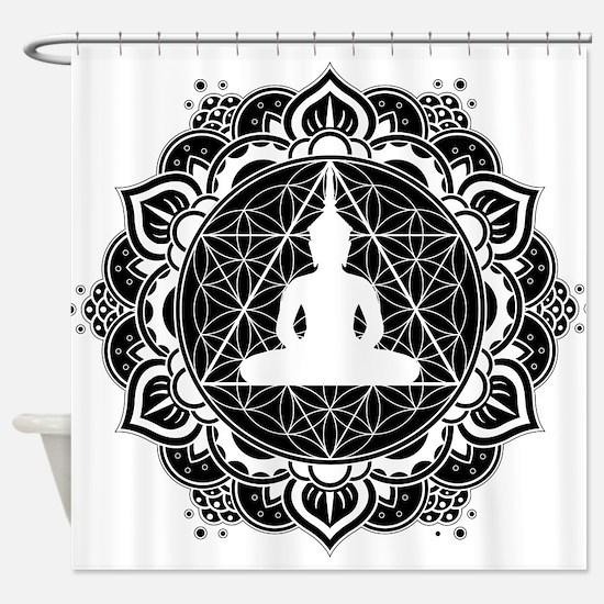 Buddha Meditating Sacred Geometry Mandala Shower C