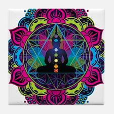 Buddha Meditating Sacred Geometry Mandala Tile Coa
