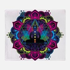 Buddha Meditating Sacred Geometry Mandala Throw Bl