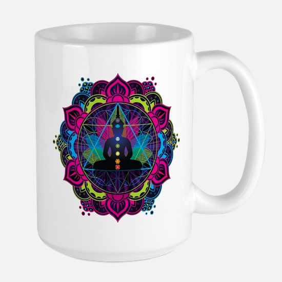 Buddha Meditating Sacred Geometry Mandala Mugs