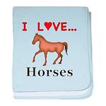 I Love Horses baby blanket