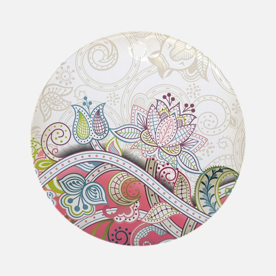 Abstract Floral Round Ornament