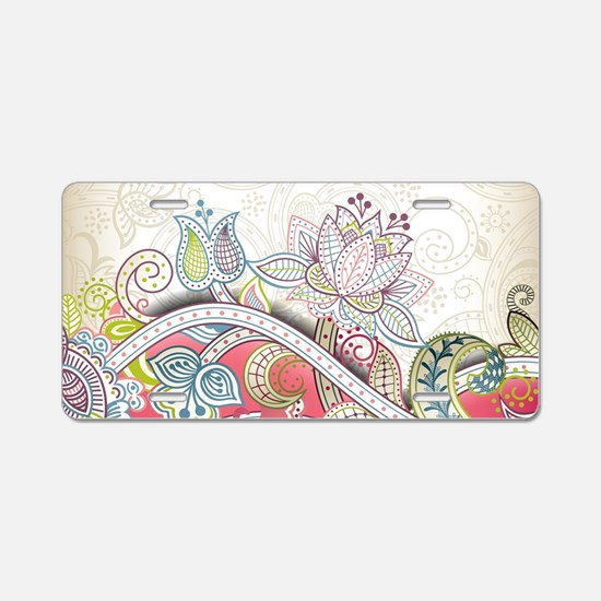 Abstract Floral Aluminum License Plate
