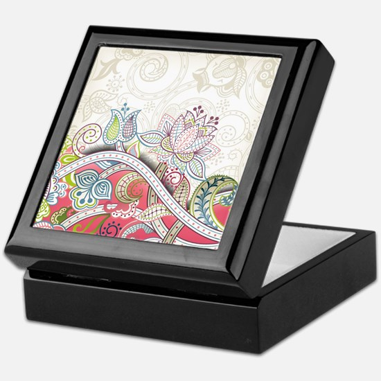 Abstract Floral Keepsake Box