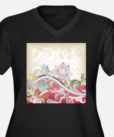 Abstract Floral Plus Size T-Shirt