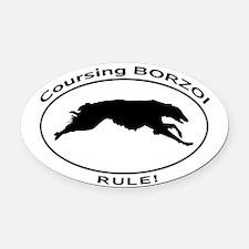 BORZOI coursing Oval Car Magnet