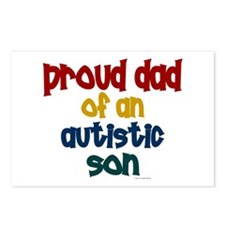 Proud Dad Of Autistic Son 2 Postcards (Package of