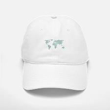 Teal World Map Baseball Baseball Cap