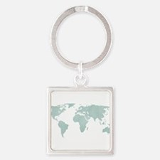 Teal World Map Keychains