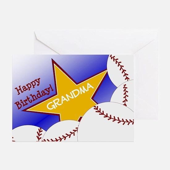 Grandma Happy Birthday Baseball Fan Greeting Cards